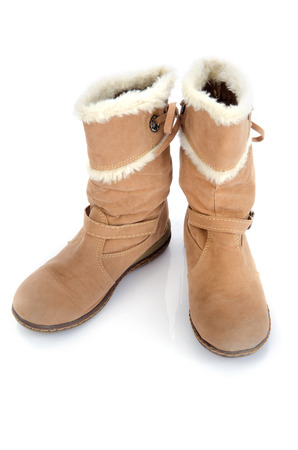 Brown high heels ankle boots isolate on white