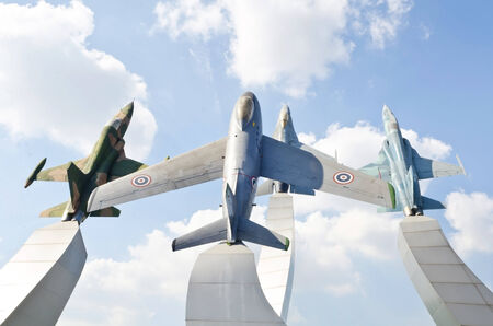 airpower: Group of Air Force warplane monument, Problic monument in thailand Editorial