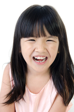 gril: Portrait of Happy asian cute gril isolate on white background