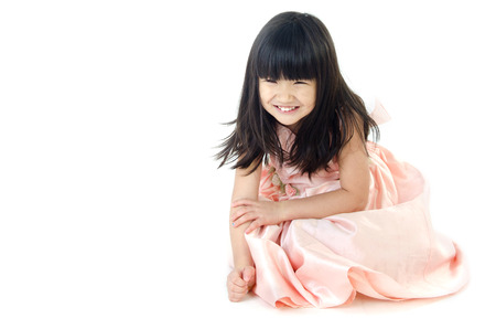 Portrait of asian cute gril isolate on white background    Stock Photo