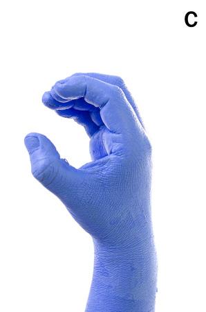 asl: Little Finger Spelling the Alphabet in American Sign Language (ASL). The Letter C