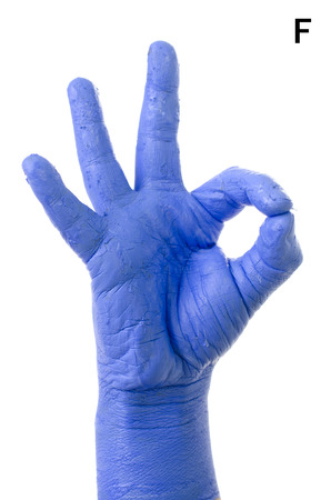 asl: Little Finger Spelling the Alphabet in American Sign Language (ASL). The Letter F