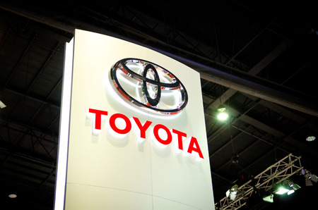 BANGKOK - MARCH 29 : Logo of Toyota on display at Bangkok International Motor Show 2014 on March 29, 2014 in Bangkok, Thailand.