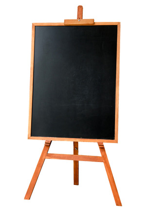 Blank art board, wooden easel, front view, isolated on white background Stock Photo