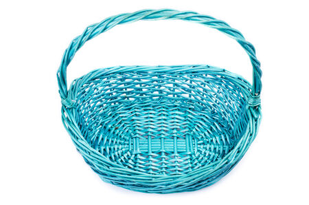 interleaved: empty vintage weave wicker blue basket isolated on white background