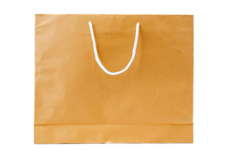 Recycled Shopping Brown paper bag on white background .  photo