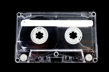 Old Vintage Cassette tape on black background