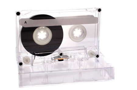 dubbing: Old Vintage Cassette tape on white background Stock Photo