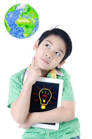 Little asian boy think with tablet computer on isolated background