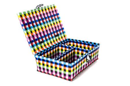 Hand craft plastic basket isolated on white background. photo