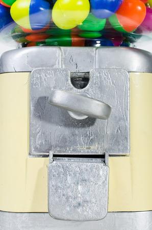 Close up of Vintage Eggs Slot Machine isolate on White Background . photo