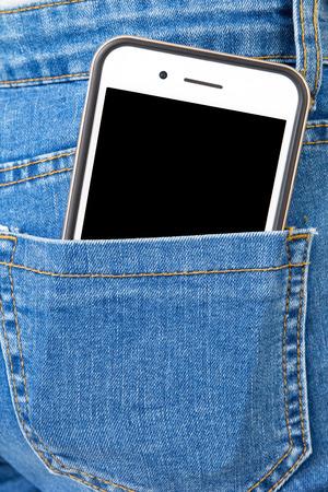 Big Smart phone in back pocket of girl's jeans .