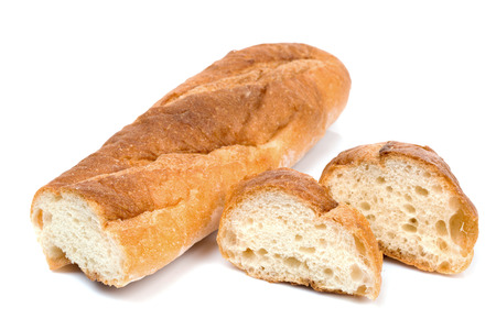 comiendo pan: Aislado de pan franc�s en el fondo blanco Foto de archivo