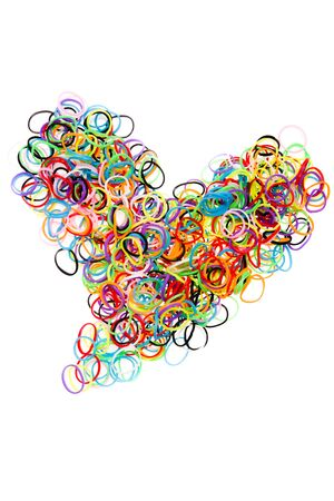 stretchy: Colorful elastic rubber bands shape heart, isolated on a white background