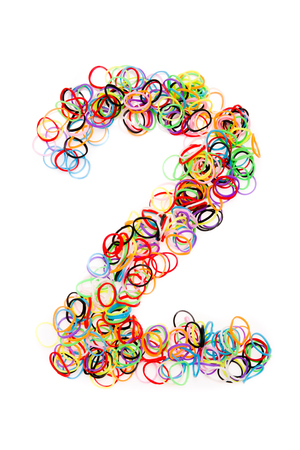 Colorful elastic rubber bands shape Number two, isolated on a white background