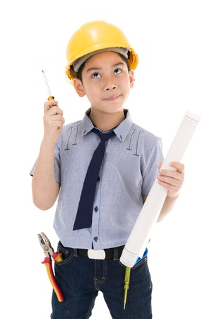 Young asian child construction engineer Holding equipment isolated on white background