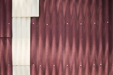 corrugated metal: red corrugated metal wall background Stock Photo