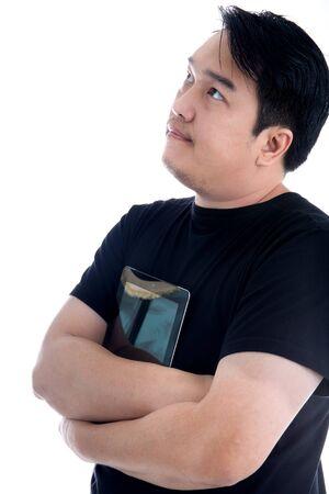 Asian man in black shirt hug tablet isolate on white background