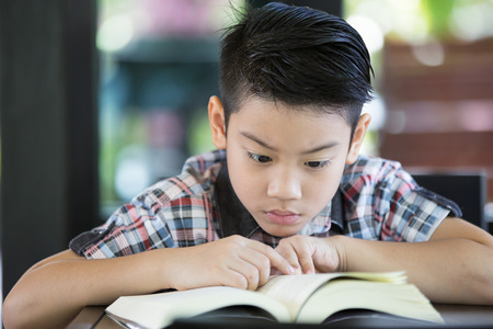 schooling: Asian boy reading a book in living room Stock Photo