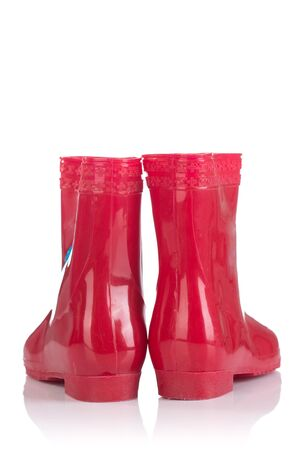 wellie: Red rubber boots for kids isolated on white background