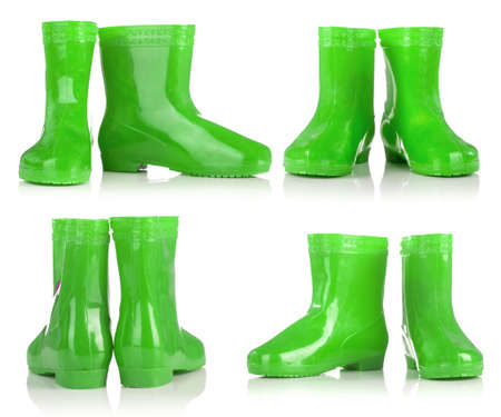 wellie: Group of Green rubber boots for kids isolated on white background