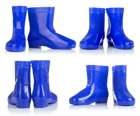 wellie: Group of blue rubber boots for kids isolated on white background