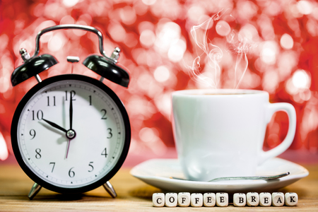 Clock. cup of fresh espresso with clock sign,with coffee break message