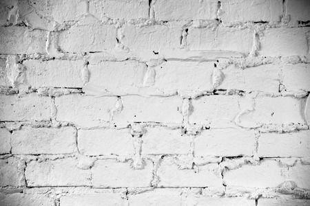 White grunge brick wall background with copy space