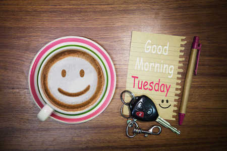 Inspirational quote - Good Morning Tuesday, on notepad, retro style background. Stock Photo