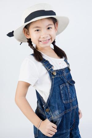 Asian girls studio portrait, on gray background Stock Photo