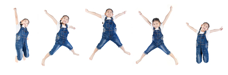 Group of Asian cute child is jumping on white background