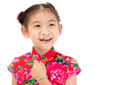 Little asian cute girl in Chinese costume isolate on white background  Stock Photo