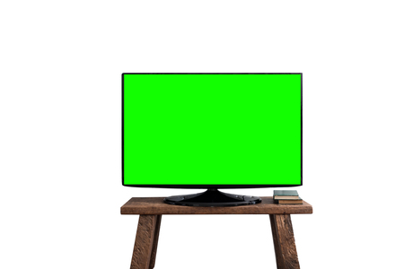 Empty green flat TV screen on wood stand ,Isolated on white background.