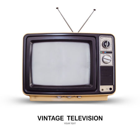 Vintage TV : old retro TV set isolated on white background