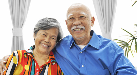 Portrait of asian senior couple looking a camera with smile face,