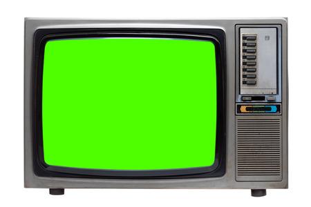 Vintage TV: alter Retro-Fernseher mit grünem Bildschirm isoliert auf weißem Hintergrund mit Beschneidungspfad.