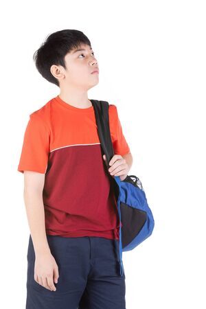 Young Asian boy thinking  feel bad over white background, vack to school concept not good. Banque d'images - 132044639