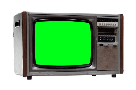 Vintage TV : old retro TV with green screen isolated on white background .