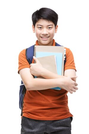 Cute asian child with school stationery on white background . Back to school concept. Banque d'images - 132044807