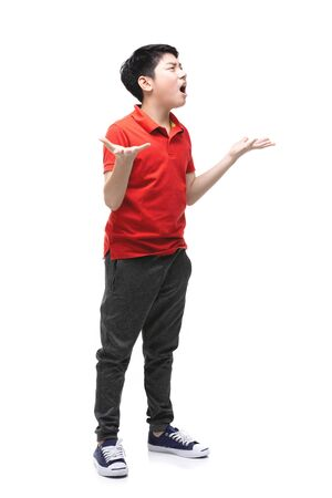 Young Asian Angry boy isolated on white background. Handsome smart serious ponder child.