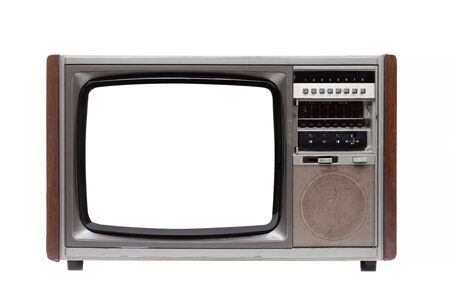 Vintage TV with white blank screen isolated on white background . Фото со стока
