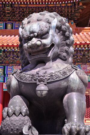 stone lion: Lion Statue in front of Forbidden Palace