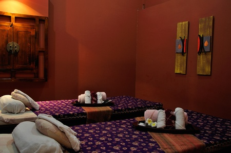 spa towels: Panoramic view of the nice massage room in spa