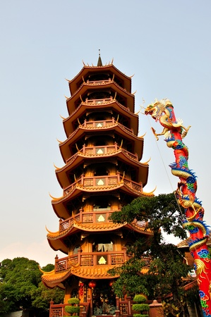 Chinese pagoda and dragon, Thailand