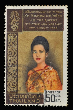 sirikit: THAILAND - CIRCA 1968: A stamp printed in Thailand, H.M. The Queen Editorial