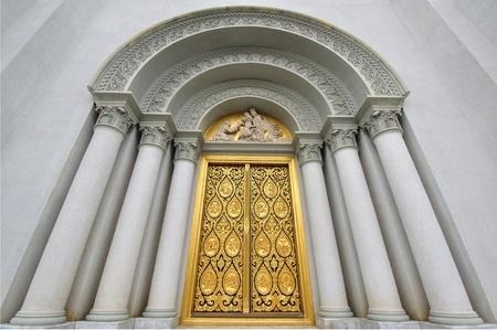 thai believe: The Door of Church with Jesus Sculptur