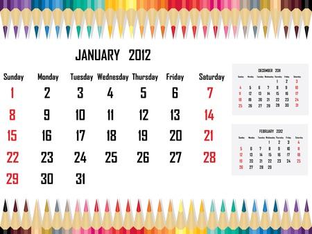 Calendar 2012 January Stock Vector - 11059680