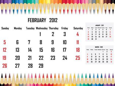Calendar 2012 February Stock Vector - 11059679