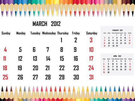 Calendar 2012 March Stock Vector - 11059678