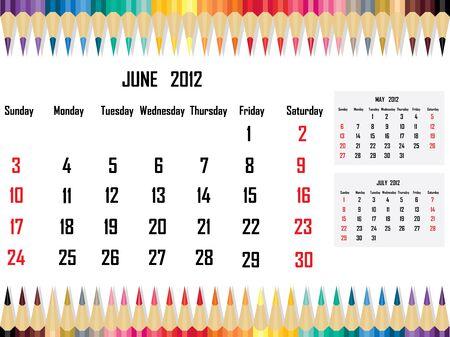 Calendar 2012 June Stock Vector - 11059671